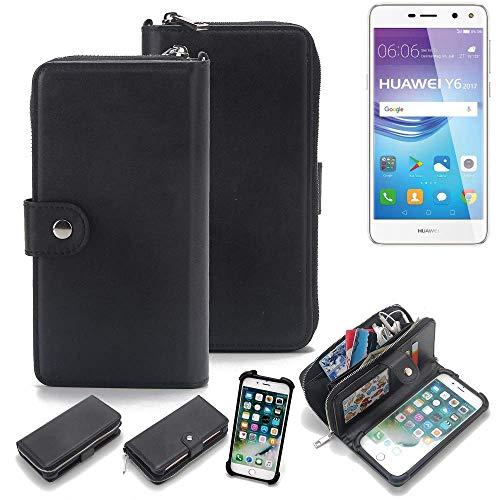 K-S-Trade 2in1 Handyhülle für Huawei Y6 2017 Single SIM Schutzhülle & Portemonnee Schutzhülle Tasche Handytasche Case Etui Geldbörse Wallet Bookstyle Hülle schwarz (1x)