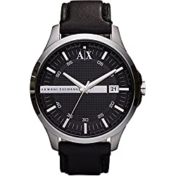 Armani Exchange Gents Black Leather Strap Watch AX2101