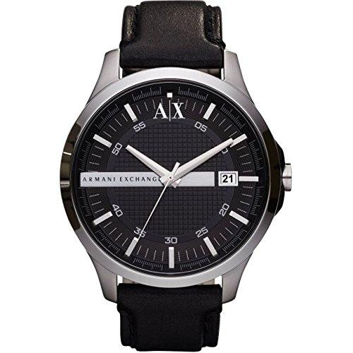 Armani Exchange Gents Black Leather Strap Watch AX2101