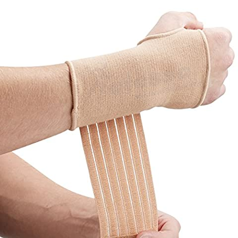 Actesso Elastic Wrist Support With Strap (Black or Beige) (M, Beige)- Ideal for Sprains - Strains or Sports Use with no metal bar - Provides excellent support without inhibiting the wrists natural movement