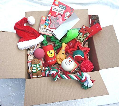 BULK CHRISTMAS DOG TOY GIFT SET WITH FESTIVE TOYS TREAT CARD AND DOG XMAS HAT