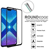 Hupshy Honor 8X Tempered Glass Screen Protector Full Glue Edge To Edge Fit 9H Hardness Bubble Free Anti-Scratch Crystal Clarity Screen Guard For Honor 8X - Black (FTG02)