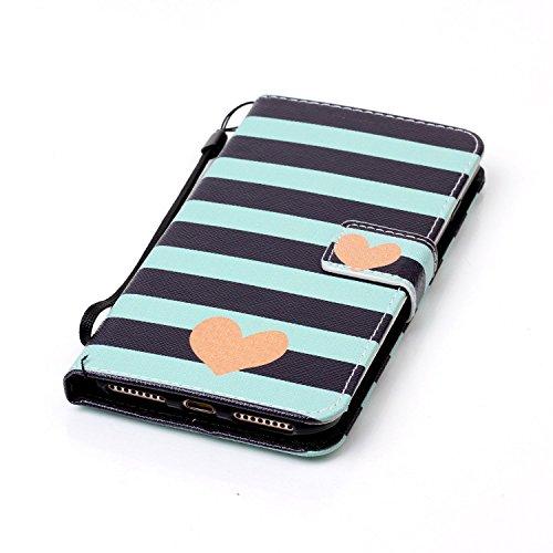 iPhone 7 Plus 5.5 Custodia,Feeltech alta Qualità Colorato Modello Sottile Foglio Cuoio PU Portafoglio con [Free 2 in 1 Penna Dello Stilo] Interno TPU Bumper Funzione Dello Stand [Slot per Schede][Ch Stripe Heart