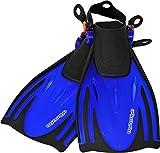 AQUAZON Alicante Verstellbare Flossen, Schnorchelflossen, Taucherflossen, Schwimmflossen für Kinder, Jugendliche zum Schnorcheln, Schwimmen, Size:32/37, Colour:Blue