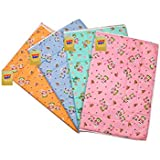 Fareto Water Proof Nappy Changing Mats with Foam Cushioned for New Born Baby, 6-12 Months (Multicolour)- Pack of 4