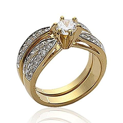 ISADY - Riley Gold - Bague Femme - Plaqué Or 750/000 (18 carats) - Oxyde de zirconium - Taille 60