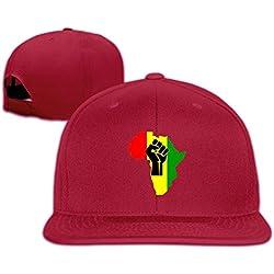 QWERT Unisexe Noir Power Fist Poêle Afrique Plat Billed Chapeaux Baseball-caps 1Taille Colorkey - Rouge -
