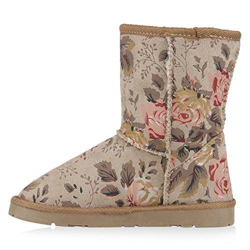 0e9c491c096212 Warm Gefütterte Damen Stiefel Boots Schlupfstiefel Kunstfell Schuhe Creme  Muster ...