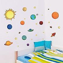 AWAKINK colorido planetas en el espacio sistema Solar con Star pegatinas de pared extraíble vinilo de pared para niñas y niños Nursery Baby habitación de los niños dormitorio