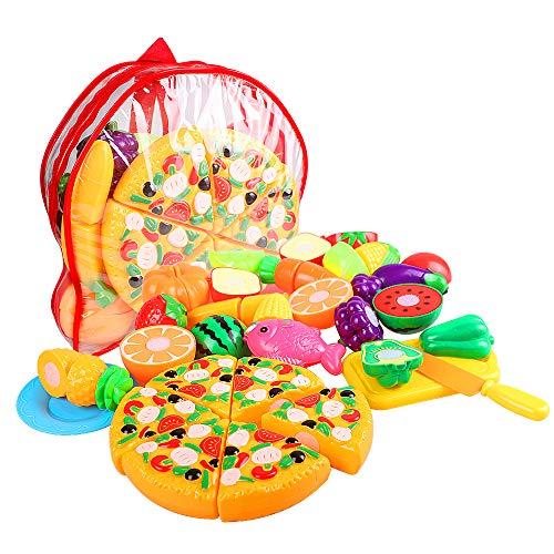 Swonuk 24stk Plastik Obst Gemüse Lebensmittel Küche Spielzeug Schneiden Küchenspielzeug Kinder mit Tasche