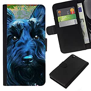 SmartPhone PU-lederne Handyhülle Ledertasche Hülle Schutzhülle Geld-Slot Kartensteckplätze der R HTC DESIRE 816 // Scottish Terrier Black Dog Canine Hunde // JUSTGO PHONE PROTECTOR