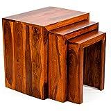 TimberTaste SATIN Solid Wood Nesting Tables, Set of 3 (Teak Finish)