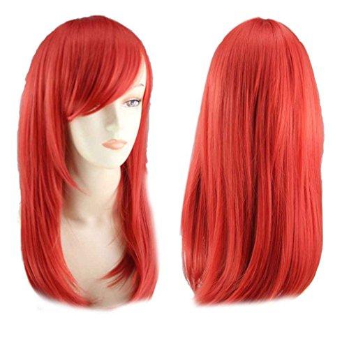 Babysbreath Frauen Bunte Mittlere Länge Birne Kopf Pop Style Perücken für Halloween Cosplay Rot (Roten Kopf Perücken)