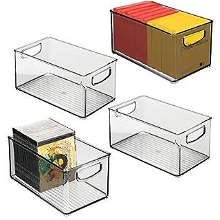 mDesign boite stockage à poignées intégrées en lot de 4 – boite rangement pour la cuisine, la salle de bain ou la papeterie – boite plastique pour le bureau – transparent/gris