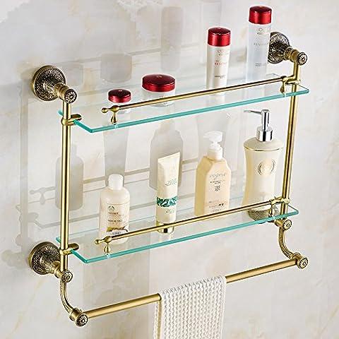 two tierS glass shelf with towel bar antique cosmetics benches shelf Towel rack bathroom Towel rack