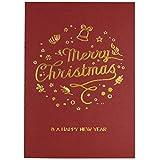 10er Set Weihnachtskarten 'Red Christmas' - in Rot mit Goldfolie - inkl. Einleger und passende Vorlagen zum Bedrucken