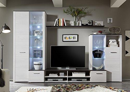 Avanti trendstore - parete da soggiorno in imitazione di larice sibiu, luci led comprese, ca. 310x204x46cm