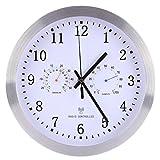 TXXCI 12 Zoll Stille Nicht-tickende Funk-Wanduhr mit Thermometer und Hygrometer