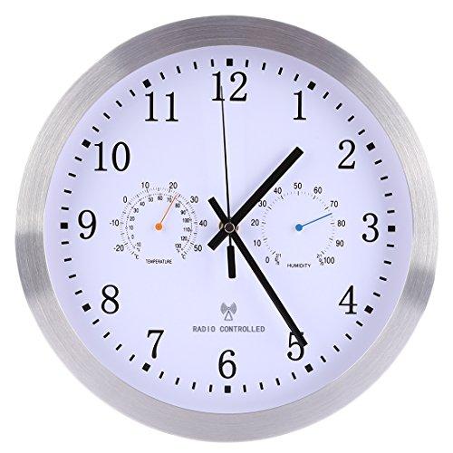 Funkuhr Wanduhr, WEIZQ Wanduhr mit Thermometer Uhr Kalender Wand Funk-Wanduhr ø 30 cm
