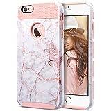 ULAK Cover iPhone 6S Plus, Custodia iPhone 6 Plus Case PC + TPU Cover Ibrida Rigida Super Protettiva con Doppio Strato in Silicone per iPhone 6 Plus, iPhone 6S Plus (5,5 Pollici), Oro Rosa Marmo