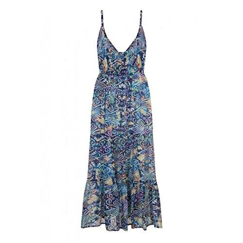 Damen Pistachio Blumenmuster Oder Aztekenmuster Midi Damen Baumwolle Trägerkleid Blau 4