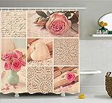 Paris Duschvorhang von ambesonne, Shabby Chic Romantic Roses Blumen Blätter mit Eiffelturm und Schriftzug, Stoff Badezimmer Decor Set mit Haken, multicolor, Textil, Multi 10, 69W x 75L