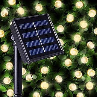 Guirnaldas Solares Luminosas de 100 LEDs de Color Blanco Cálido – Iluminación a base de energía solar para exteriores a prueba de agua – Lámpara de jardín/luz externa solar con sensor nocturno incorporado, cuerdas y picos de tierra – Luces de Hada alimentadas por energía solar para Navidad, para exteriores, cercas, Patio, Vallas, Terraza, Pasarela, Barreras, Entradas, Garaje, Cobertizo, Adornos, Pasillos, Bordes, Sendas, y como Decoración