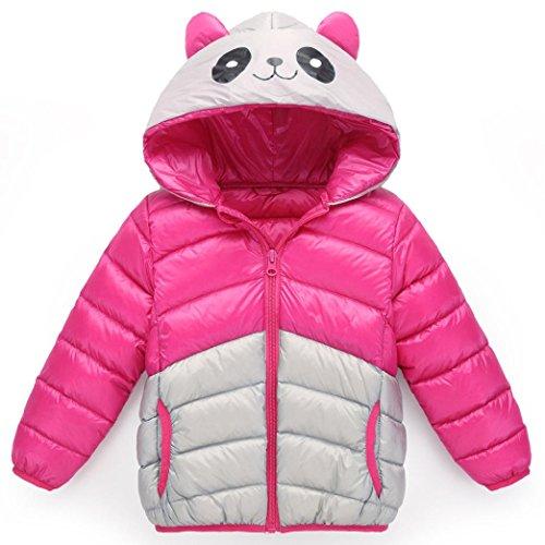 Luckycat Baby Mädchen Jungen Kinder Panda Mit Kapuze Daunenjacke Winter Warme Parka Outwear Mantel (3T --110cm, Rose rot) (Stück 3t-3 Jungen)