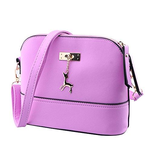 Kleine Umhängetaschen Leder Damen Günstige Handtaschen Schule Elegant Shopper (lila) (Designer-handtasche Blume)