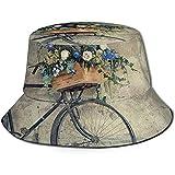 Cappello Bici Vintage con Cesto di Fiori Cappello da Sole Cappello da Pescatore Cappello da Esterno Cappello da Sole per Protezione Solare Cappello da Viaggio Pieghevole Nero