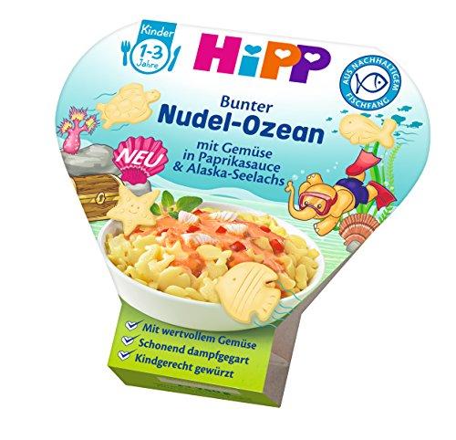 HiPP Schalenmenüs Bunter Nudel-Ozean mit Gemüse in Paprika-Sauce und Alaska-Seelachs, 6er Pack (6 x 250 g)