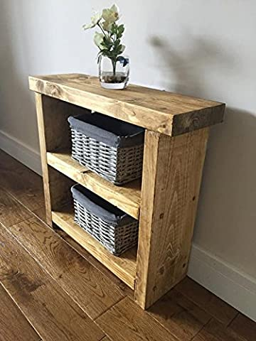 Solid Rustic Handmade Pine side / lamp / end table, finished in a Chunky Country Oak effect (mk2) (Medium Oak, 70cm