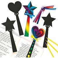 Marcapáginas de varita mágica para rascar - scratch art kits de artesanía para niños (pack de 12)