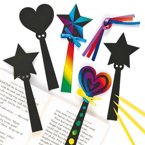 Kratzbild-Lesezeichen - Zauberstab - scratch art mit Regenbogenfarben für Kinder zum Basteln - 12 Stück (Scratch Art-tools)