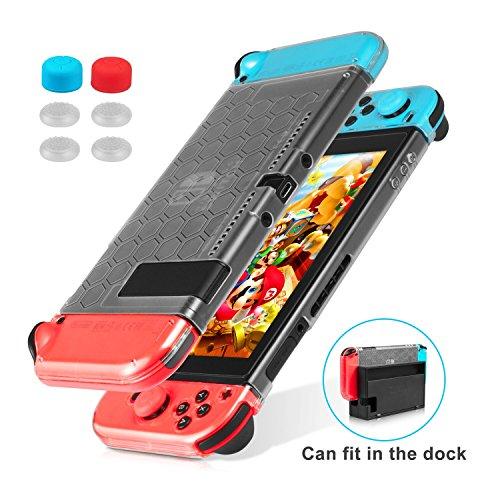 Keten Funda para Nintendo Switch, Funda Transparente Versión Mejorada, Protector Amortiguador Antiarañazos para Nintendo Switch y Mando Joy Con 6 Agarres para el Pulgar