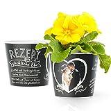 Facepot Hochzeitsgeschenk Blumentopf (ø16cm) - Geschenk zur Hochzeit für Brautpaar mit Bilderrahmen für ein Foto (10x15cm) - Rezept für eine glückliche Ehe
