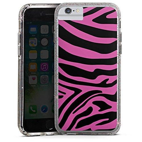 Apple iPhone 7 Bumper Hülle Bumper Case Glitzer Hülle Pink Muster Zebra Trend Bumper Case Glitzer rose gold