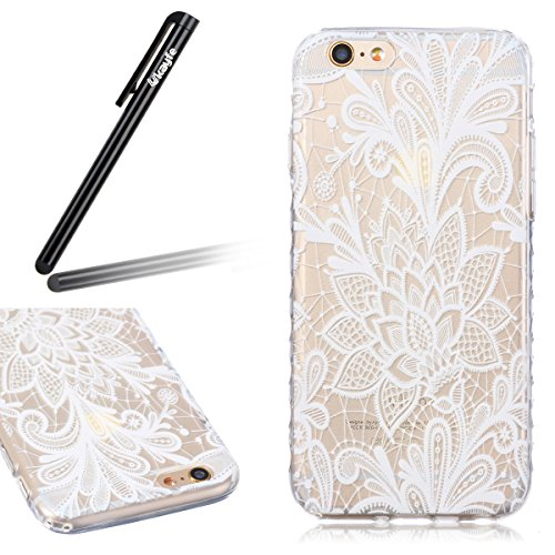 Coque Housse pour iPhone 6, iPhone 6 Coque Silicone Etui Housse, iPhone 6s Souple Coque Etui en Silicone, iPhone 6 / 6s Silicone Transparent Case TPU Cover, Ukayfe Etui de Protection Cas en caoutchouc White Rose