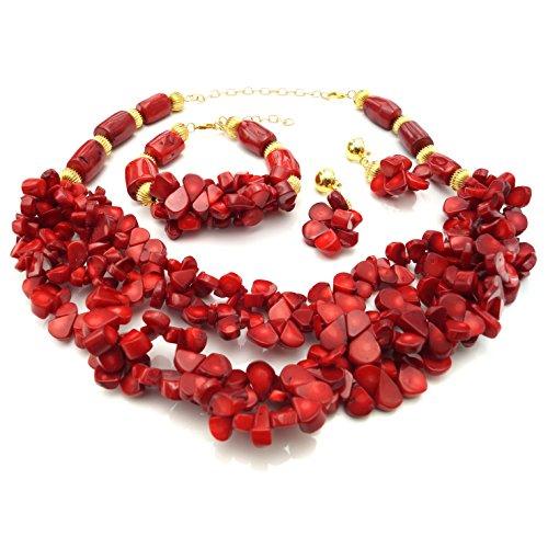 Yulaili Natürliche Rote Koralle Perlen Schmuck Sets African Kostüm Halskette Fashion Charms Armband Frauen Zubehör Edelstein (Großhandel Kostüm Schmuck Perlen)