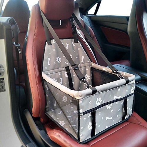 GENORTH Hund Auto Sitz Upgrade Deluxe tragbare kleine Haustier Booster Sitz mit Clip-On Sicherheitsleine und Decke, perfekt für kleine Haustiere (Gris) -