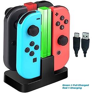 LeSB 4 in 1 Ladegerät Nintendo Switch Controller Joy-Con Lade Dock mit LED-Anzeige