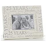 Silber Hochzeit 25. Jahrestag Script 15,2x 10,2cm Bilderrahmen