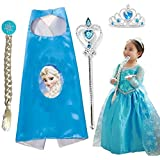 Elsa Costume + Crown + Cape + Wand + Braid Princess Halloween Costume | Cosplay Carnival Costumes For Children | Fancy Dress Competition | B'day Party | Birthday Gift | B'day Gift | Baby Show | Fancy Dress Costume | Kindergarden | Fancy Dress Shop | Baby