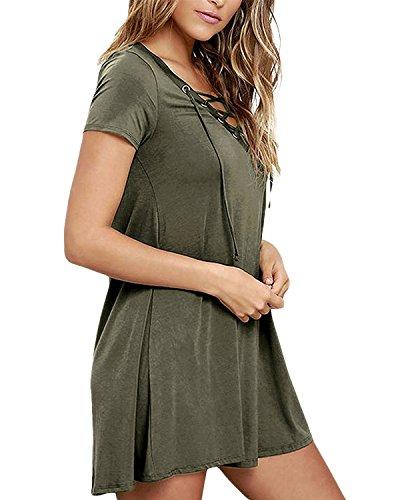 StyleDome Donna Vestito Mini Spiaggia Abito Corto Manica Corta Casual Elegante Cocktail Verde scuro