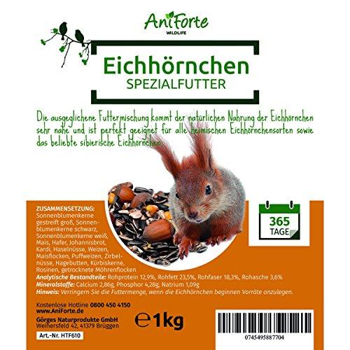 AniForte Wildlife Premium Eichhörnchenfutter 1 kg für Eichhörnchen und Streifenhörnchen - Naturprodukt Mischung, Besondere und artgerechte Eichhörnchen Fütterung - Unsere Spezial Futtermischung - 3