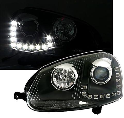 Scheinwerfer mit LED Tagfahrlicht in Klarglas Schwarz