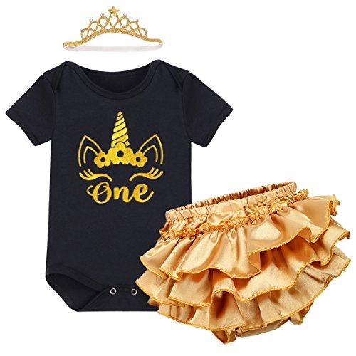 Baby Mädchen 1. Geburtstag Tutu Kleid Set Romper + Gold Pumphose / Bloomers + Krone Stirnband Geschenk Säuglings Prinzessin 3 Stück Outfits Verkleidung Fotoshooting Kostüm Schwarz 12-18 Monate (Minnie Maus 18 Monate-kostüm)