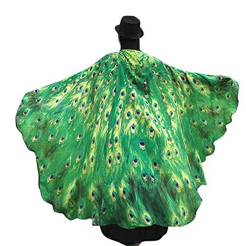 Kostüm Waschbär Zubehör - WOZOW Damen Schmetterling Flügel Kostüm Nymphe Pixie Faschingkostüme Umhang Schals Poncho Kostümzubehör Zubehör (Grün)