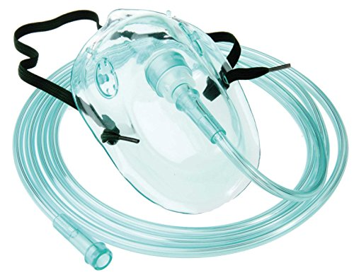 Sauerstoffmaske 10 Stück Tiga-Med f. Erwachsene mit grünem 210cm Sauerstoff Schlauch O2 Masken O2 Atemmasken