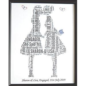 Personifiziertes homosexuelles weibliches (lesbisches) Verlobungs-Wort-Kunst-Entwurf (G) 8